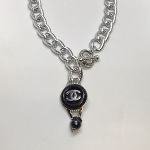 Black &Silver Genuine Designer Button necklace